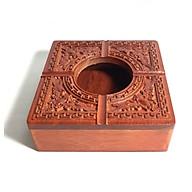 Gạt tàn gỗ hương trạm khắc hoa văn truyền thống tinh xảo thumbnail