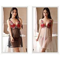Váy Ngủ Thêu Hoa Hồng Xẻ Tà Tặng Quần Lọt Khe Nhiều Màu Sexy Erotic Dress Nightwear Brave Man BCS21 A024 thumbnail