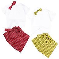Set áo đính nơ và chân váy caro 12 đến 25 kg Quảng Châu cho bé gái 01607-01608 thumbnail