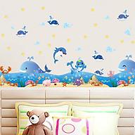 Decal dán tường trang trí lớp mầm non, chân tường, phòng học cho bé- chân tường cá heo xanh- mã sp DXL7149 thumbnail