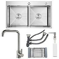 Combo chậu rửa chén inox sus304 kích thước 8245, vòi rửa chén nóng lạnh, bình xà phòng, rổ inox đa năng, bộ xả chậu chống hôi thumbnail