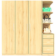 Tủ quần áo FINE FT043F 180cm x 200cm gỗ MFC ngoại nhập Malaysia, thiết kế hiện đại, đường nét tinh xảo có ngăn trưng bày túi xách thumbnail