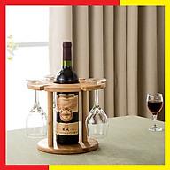 Kệ gỗ để đựng rượu và ly bằng Gỗ Tre Cao Cấp,Kích thước 24,5 x 25 cm,Màu Vàng gỗ Tre Nguyên bản rất Sáng và Sang,Đứng Chắc Chắn,Lòng khá rộng phù hợp với hầu hết các loại chai Vang trên thị trường - Giá Đựng Rượu và Ly gỗ Tre tự nhiên thumbnail