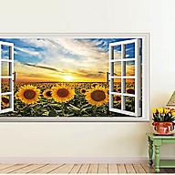 decal dán tường phong cảnh cửa sổ cánh đồng hoa hướng dương thumbnail