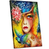 Tranh sơn dầu số hóa tự tô đã căn khung 40x50cm- PH9488 cô gái tóc vàng thumbnail