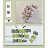 Bộ 24 móng tay giả màu đơn sắc (R053) tặng kèm thun lò xo cột tóc màu đen tiện lợi thumbnail