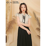 Áo kiểu nữ cộc tay cổ tàu màu xanh chấm bi Linbi SM2719 thumbnail