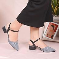 Sandal gót vuông 3cm caro sành điệu VASMONO V023105 thumbnail