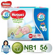 Miếng Lót Sơ Sinh Huggies Dry Newborn 1 - 56 (56 Miếng) - Bao Bì Mới thumbnail