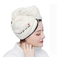 Combo 2 Khăn cuốn ủ tóc thêu chữ mẫu mới siêu mềm mịn lau khô nhanh thấm hút tốt thumbnail
