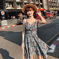 Đầm Hoa Hai Dây Cổ Chữ V Đắp Chéo Phong Cách Thời Trang Pháp - MSP D05J thumbnail
