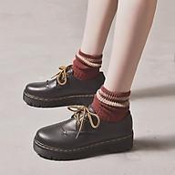 Gia y Nư Oxford ulzzang Da PU Trơn Đê Răng Cưa Kiê u Da ng Hottrend 2021 MBS384 - Mery Shoes thumbnail