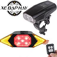 COMBO Phụ Kiện Xe Đạp Đèn Xi Nhan Có Điều Khiển Wifi Từ Xa và Đèn 2 Pha HJ5503 Pin 4000mAh Sạc USB thumbnail