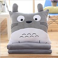 Combo Mền Gối Ngủ Văn Phòng Tiện Lợi Totoro Vuông Màu Xám Siêu Mịn 1.1x1.7m thumbnail