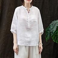 Áo kiểu nữ cổ bổ trụ tay lỡ trẻ trung ArcticHunter, chất vải đũi lụa mềm mát, thời trang phong cách trẻ thumbnail