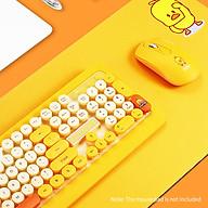 K68 Keyboard & Mouse Combo 2.4GHz Wireless Cute Retro Round Keycap Keyboard Mouse Set Punk Keyboard Mouse Combo Yellow thumbnail