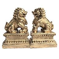 Cặp tượng đá trang trí kỳ lân - màu nhũ vàng thumbnail