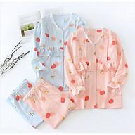 Bộ đồ bầu và sau sinh dài tay xô Nhật AZ810 cổ tim mặc nhà có thiết kế cho con bú thumbnail