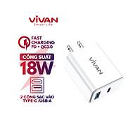 Củ Sạc Nhanh VIVAN 2 Cổng Type C & USB QC 3.0 Công Suất 18W DQ02U Tiêu Chuẩn Quốc Tế-Hàng chính hãng thumbnail