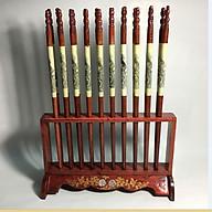 Bộ đũa thờ 10 đôi phong thủy gỗ hương kiểu đứng kèm giá cắm- Hàng loại 1 thumbnail