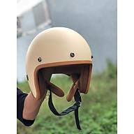 Mũ Bảo Hiểm 3 4 Đầu Lót Nâu Cao Cấp Màu Kem Sữa thumbnail