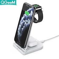 Bộ Đế sạc không dây QGeeM Charging Stand chuẩn Qi 15W kèm Adapter sạc QC3.0 3 trong 1 cho iWatch, AirPods và iPhone - Hàng chính hãng thumbnail
