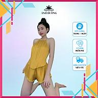 Đồ ngủ nữ sexy dập ly cổ yếm cột dây vải phi bóng phối ren Ánh Dương Clothing thumbnail