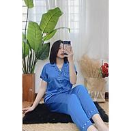 Bộ đồ ngủ, đồ bộ pijama lụa nữ mặc nhà Satin áo cộc quần dài có viền quanh free sezi từ 40kg đến 60kg thumbnail
