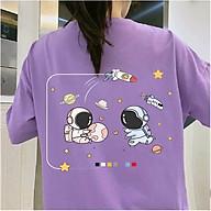 Áo thun tay lỡ nữ SAM CLO freesize phông form rộng dáng Unisex, mặc lớp, nhóm, cặp in hình HÀNH TINH TÊN LỬA HAI PHG màu tím thumbnail