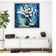 Tranh treo tường vuông CÚC HỌA MI XANH, phong cách CỔ ĐIỂN, sang trọng, phong cách sơn dầu,in canvas , kèm khung màu gỗ, trắng, đen,,siêu nhẹ PVP-DC1V12 thumbnail