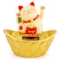 Chú Mèo May Mắn Ngồi Trên Thỏi Vàng (giao màu ngẫu nhiên) thumbnail