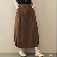 Chân váy suông dài xếp ly đính cúc thời trang, nhẹ nhàng. thumbnail