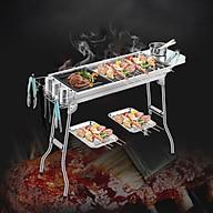 Bếp nướng BBQ ngoài trời dã ngoại nướng than hoa inox có thể gấp gọn chân cao xếp kèm phụ kiện - Hàng chính hãng thumbnail