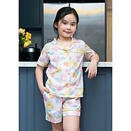 Đồ mặc nhà Pijama bé gái áo cộc quần đùi hình nửa quả táo thumbnail
