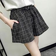 Quần shorts nữ kẻ, Chất thô đẹp, free size dưới 55kg, màu đơn giản thumbnail
