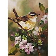 Tranh sơn dầu họa sỹ sáng tác vẽ tay CHIM BÊN HOA (11) thumbnail