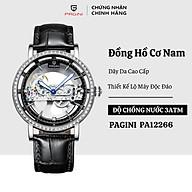 Đồng hồ cơ nam PAGINI PA12266 dây da cao cấp - Mặt kính chống xước thumbnail