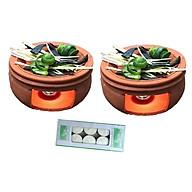 Combo 2 bếp xông đốt bồ kết chanh sả thảo dược tặng 1 hộp nến 10 viên (Mầu đất ngẫu nhiên) thumbnail