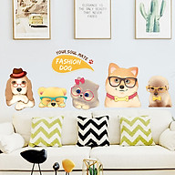 Decal dán tường trang trí quán cafe, phòng cho bé yêu- Đàn chó mèo dễ thương- mã NQR9067 thumbnail