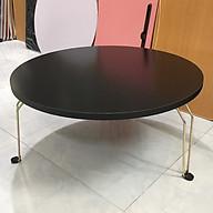 Bàn trà, cafe, bàn ăn, bàn làm việc mặt bàn đen chân sắt gấp gọn tiện lợi, đa năng đường kính 60cm thumbnail