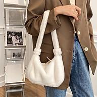 Women Faux Fur Shoulder Bag Fluffy Plush Zipper Mini Handbag Winter Chic Phone Keys Lipstick Purse thumbnail