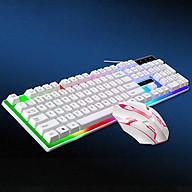 Bàn phím máy tính laptop Hewolf keyboard giả cơ có đèn LED kèm chuột tương thích hầu hết các thiết bị hàng chính hãng thumbnail