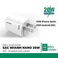 Cốc sạc nhanh Hukey Nano PD 20W siêu nhỏ cho iphone 12 pro max , iphone 11 và Android - Hàng Chính Hãng thumbnail