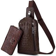 Bộ ví và túi đeo chéo da bò vân cá sấu thumbnail