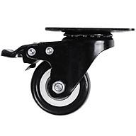 Bánh xe đẩy mặt đế xoay càng sắt tải trọng 30kg lốp nhựa PU đen rộng 20mm 40mm có khóa thumbnail