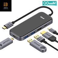 Bộ Hub USB C QGeeM 5 trong 1 4K USB C sang HDMI, 2 x USB 3.0, 1 x USB-C 3.0, 1 x USB-C 100W PD Charger tương thích với MacBook Pro 2019 2018 IPad Pro, Chromebook, XPS, Type-C Adapter - Hàng Chính Hãng thumbnail
