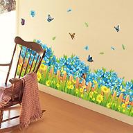 Decal dán tường trang trí phòng khách, quán cafe- Chân tường hoa xanh- DXL7185 thumbnail