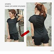 Bộ đồ tập gym nữ, quần áo thể thao nữ áo thun phối lưới quần đùi 2 lớp thumbnail