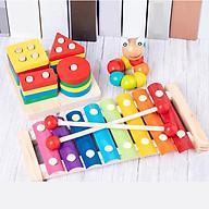 Bộ Đồ Chơi Gỗ cho bé Gồm 3 Món Thả hình 4 trụ, Sâu gỗ, Đàn gỗ - Phát Triển Trí Tuệ Cho Bé thumbnail