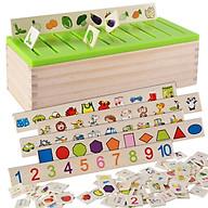 Đồ chơi gỗ thả hình theo chủ đề cho bé luyện tập trí nhớ và nhận biết chữ và số thumbnail